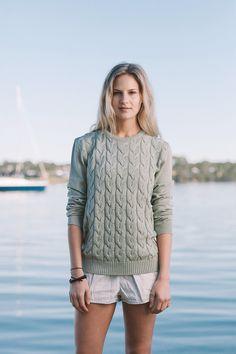'Clarence Jumper' (Cable Crew Jumper) in Sea Mist by Jude Australia Knitwear. Australian Made, 100% merino wool. Available from: http://www.judeaustralia.com/product/clarence-jumper/ #wool #merino #AustralianMade #JudeAustralia #jumper #winter