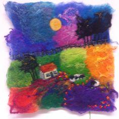 Wet felt/hand stitch/patchwork/cottage