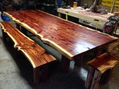 Check out this item in my Etsy shop https://www.etsy.com/listing/258685143/live-edge-cedar-dining-set