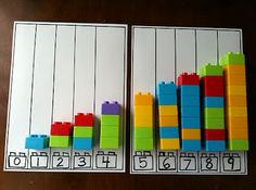 Counting with Legos.  I will make charts with multiples of 5, 10, 20, and 100 and use different colors to represent varying units.