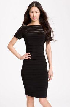 9cf14153479 Adrianna Papell Illusion Bodice Pleated Jersey Sheath Dress (Regular    Petite)