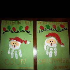 Santa Handprints and Christmas Light Fingerprints Christmas Activities For Kids, Toddler Christmas, Craft Activities, Preschool Crafts, Winter Christmas, Christmas Presents, Christmas Holidays, Christmas Ideas, Activity Ideas
