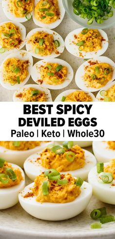 These spicy deviled eggs are the perfect holiday appetizer with a kick. They're filled with sriracha and a hint of cayenne. #deviledeggs #deviledeggsrecipe #bestdeviledeggs #fallrecipe #thanksgivingappetizer