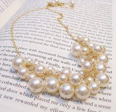 Georgia Ivory Pearl Cluster Bib Bauble Necklace  Chunky by bonitaj, $89.00
