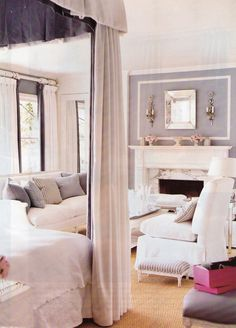 Mary McDonald - her bedroom when it was gray and white - like how canopy bed has a contrast color on the interior