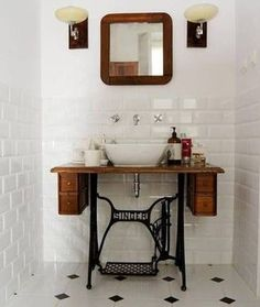 And this sewing machine-turned-bathroom sink that's just really freakin' cool. And this sewing machine-turned-bathroom sink that's just really freakin' cool. Bathroom Vanity Decor, Rustic Bathroom Vanities, Vanity Sink, Mirrored Vanity, Vanity Tops, Bathroom Ideas, Bathroom Sinks, Modern Bathroom, Lowes Bathroom