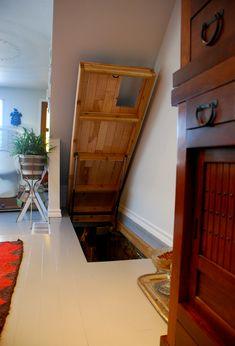 hidden interior slides | Trap Door in Floor Opens to Stairs