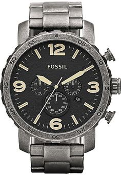 Fossil Nate Stainless Steel Watch Burnished Silver-Tone #JR1388