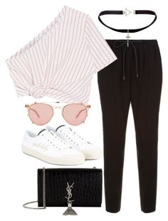 """""""Untitled #3392"""" by bubbles-wardrobe ❤ liked on Polyvore featuring Alexander Wang, Rosie Assoulin, Yves Saint Laurent and Garrett Leight"""