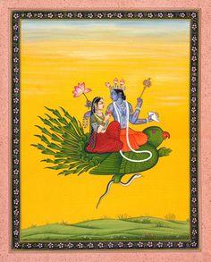Lakshmi Vishnu On Garuda - Water Color Painting on Paper - Artist: Kailash Raj: Amazon.co.uk: Kitchen & Home