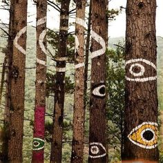 Environmental land art in the forest eye one tree