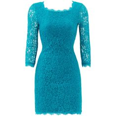 Rental Diane von Furstenberg Teal Zarita Dress ($65) ❤ liked on Polyvore featuring dresses, blue, liliana sheer-sleeve lace dress, 3/4 length sleeve dresses, 3/4 sleeve lace dress, scalloped dress and blue dress