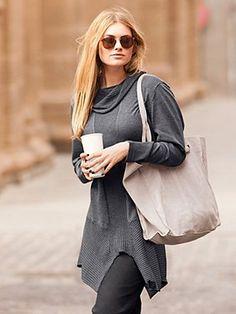 70063312 - Handkerchief Hem Long Tunic Sweater