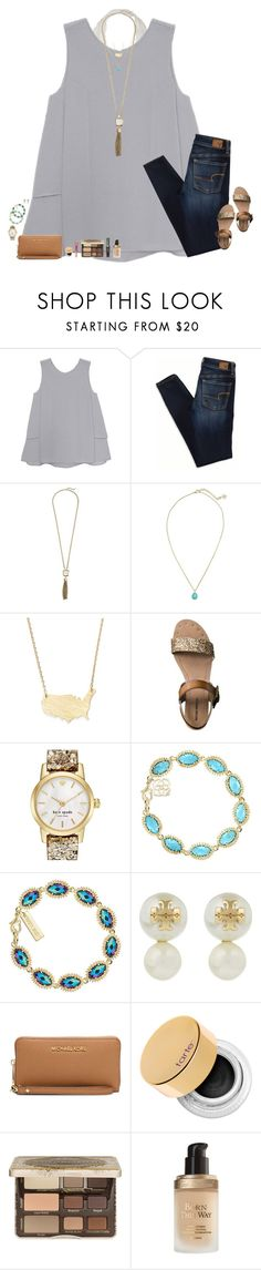 """babe."" by maggie-prep ❤ liked on Polyvore featuring Olive + Oak, American Eagle Outfitters, Cole Haan, Kendra Scott, Moon and Lola, Mossimo, Kate Spade, Tory Burch, MICHAEL Michael Kors and tarte"