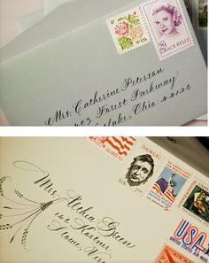 Love the mix of vintage stamps on these, especially the top one with Grace Kelly! #pinBellaFigura