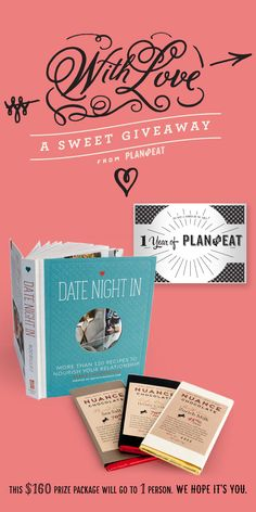 In preparation for Valentine's Day, Plan to Eat is giving away a copy of Date Night In, some of the finest chocolates you can imagine from Nuance Chocolate, and a free year of meal planning with Plan to Eat. Enter to win!