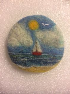 "OOAK Needle Felted Brooch ""little Red Sail Boat"" 
