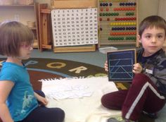 They are making shapes on the Geoboards. #PreschoolMathematics