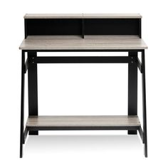 Grey Small Computer Desk Compact Space Saver Kids Workstation Table Home Office  #Furinno