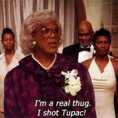 "Tyler Perry as Madea in the wedding scene of the movie ""Madea's Family Reunion"