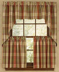 The Heartfelt Plaid Tier Window Treatment has a cozy, homespun look. This cotton, plaid pattern incl Plaid Curtains, Tier Curtains, Valance Curtains, Check Curtains, Orange Curtains, Primitive Kitchen, Rustic Kitchen, Primitive Decor, Country Primitive