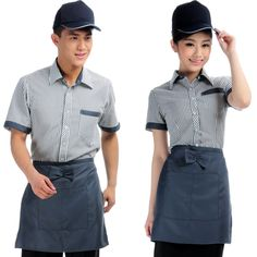 The XK132 hotel restaurant waiter uniforms overalls summer clothes summer woman hotel apparel Thumbnail
