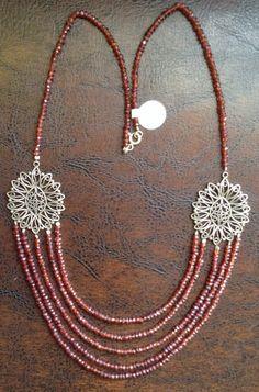 Necklace-Silver garnet stone,