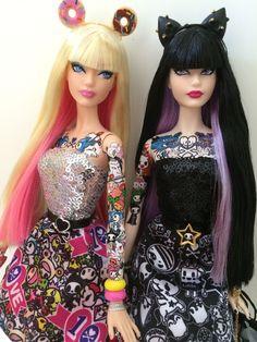 TokiDoki Barbie dolls Purple platinum ed/ Pink anniversary OOAK dolls Barbie I, Barbie World, Barbie And Ken, Barbie Dress, Barbie 2000, Barbies Dolls, Big Girl Toys, Toys For Girls, Barbie Tattoo