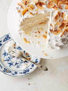 Toasted Coconut Cake with Marshmallow Icing & Almonds via Jennifer Davick