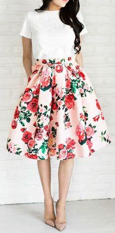 Floral midi skirt.