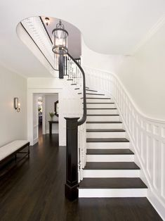 love the moulding and dark rail and step treads. Same shape as our staircase. Traditional Staircase Design, Pictures, Remodel, Decor and Ideas