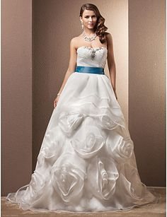 Ball Gown Sweetheart Court Train Organza Wedding Dress With Removable belt