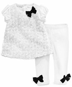 First Impressions Baby Set, Baby Girls 2-Piece Mini-Rosette Tunic and Leggings