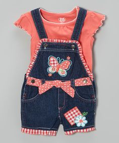 Love this Denim Butterfly Shortalls & Pink Tee - Toddler by Young Hearts on #zulily! #zulilyfinds