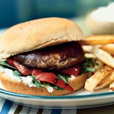 Vegeterian Portobello Cheeseburgers:   Meaty portobello mushrooms make great vegetarian main dishes. Sauté the caps in garlic until tender, then stack on a sandwich roll spread with a rich and creamy Gorgonzola-flavored mayonnaise. Top with lettuce and bottled bell pepper slices and serve with chips for a quick meatless dinner.