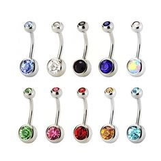 Amazon.com: Vcmart Lot of 10 Pack Assorted 316L Surgical Stainless... ($8.99) ❤ liked on Polyvore featuring jewelry, body jewelry, crystal stone jewelry, crystal gemstone jewelry, gemstone jewelry and stainless steel jewellery