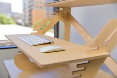 Who would have thought that desks would be the big buzzed about item in tech in On a weekly basis, I got more emails about standing desks than I did about any other category in the industry, save Bluetooth speakers. The truth is that while this tren Diy Computer Desk, Diy Desk, Best Standing Desk, Standing Desks, Home Office Furniture, Furniture Design, Plywood Furniture, Plywood Desk, Adjustable Standing Desk Converter