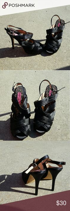Black Betsey Johnson strappy heels Has been worn Size 7.5  High heels Strappy 3 inch heel No Trades Betsey Johnson Shoes Heels