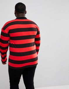 Sixth June PLUS Oversized Rugby Polo Shirt In Black With Red Stripes -