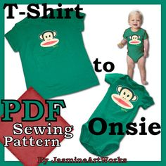 Turn Your TShirt into a Onsie PDF Sewing by JasmineArtWorks, $5.90