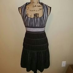 Sophie Max NWOT Black and silver dress with elastic gathering in waist. Gathering in bottom four levels. Black and silver vertical in top. Sleeveless. Fully lined in silver. Stretchable to size medium. Sophie Max Dresses Midi