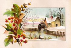 Vintage Winter Clip Art | Vintage Victorian Scrap Card: Flower and Winter Clip Art with Bouquet ...
