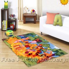 KIDS EXPRESS WINNIE POOH BIRTHDAY PARTY FLOOR RUG (XS)100x150cm *FREE DELIVERY*