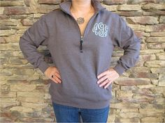 Hey, I found this really awesome Etsy listing at https://www.etsy.com/listing/164439463/monogrammed-quarter-zip-sweatshirt-10