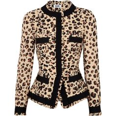 Moschino Cheap and Chic Leopard Print Voile Jacket ($280) ❤ liked on Polyvore featuring outerwear, jackets, tops, blazers, casacos, peach, leopard print jacket, leopard blazer, peach blazer and leopard jacket
