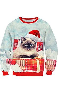 Uideazone Teen Print Angry Cat Long Sleeve Shirt Funny Christmas Sweater Sweatshirt ❤ ...