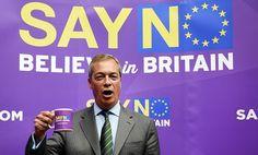 Britannian itsenäisyyspuolueen puheenjohtaja Nigel Faragen puhui EU:n vastaisessa tilaisuudessa Lontoossa 4. syyskuuta.