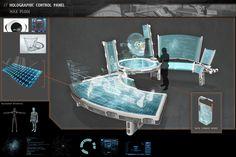 Holographic Control Panel by on DeviantArt Spaceship Interior, Futuristic Interior, Futuristic Art, Futuristic Technology, Armor Concept, Weapon Concept Art, Cyberpunk, Science Fiction, Sci Fi City