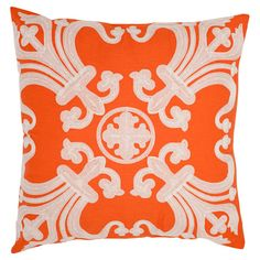 Inspired by antique tiles, this bold cotton pillow showcases ornate scrolling embroidery and an orange hue.    Product: Set of 2 pil...