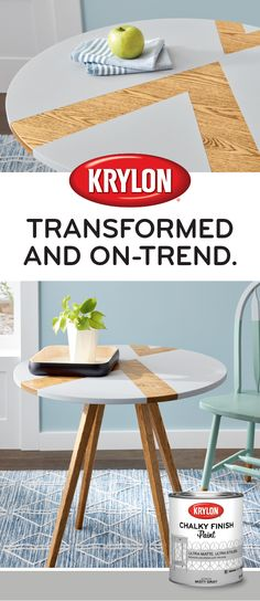 A table for two that's pretty too thanks to Krylon® Chalky Finish Paint. Diy Furniture Decor, Diy Furniture Plans, Upcycled Furniture, Furniture Makeover, Diy Room Decor, Painted Furniture, Spray Paint Crafts, Spray Paint Projects, Wood Projects